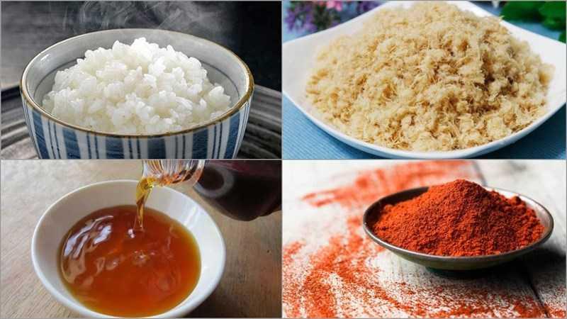 Nguyên liệu món cơm nấu với nước mắm ớt và cơm