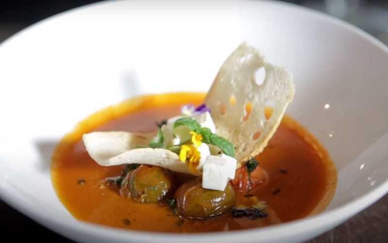 Súp cà chua nướng chay