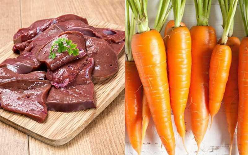 Gan động vật và cà rốt, rau cần