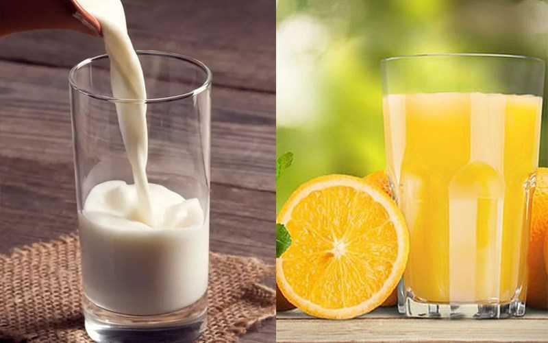 Sữa bò và nước ép chua (cam, quýt)