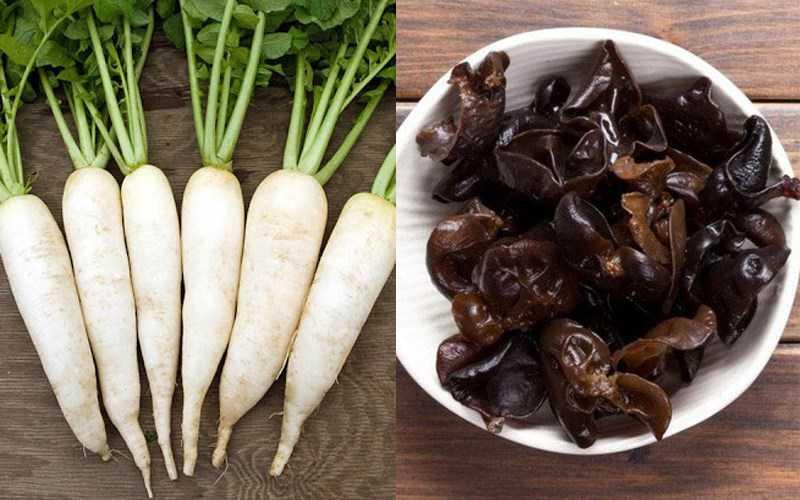 Củ cải trắng và nấm (mộc nhĩ)