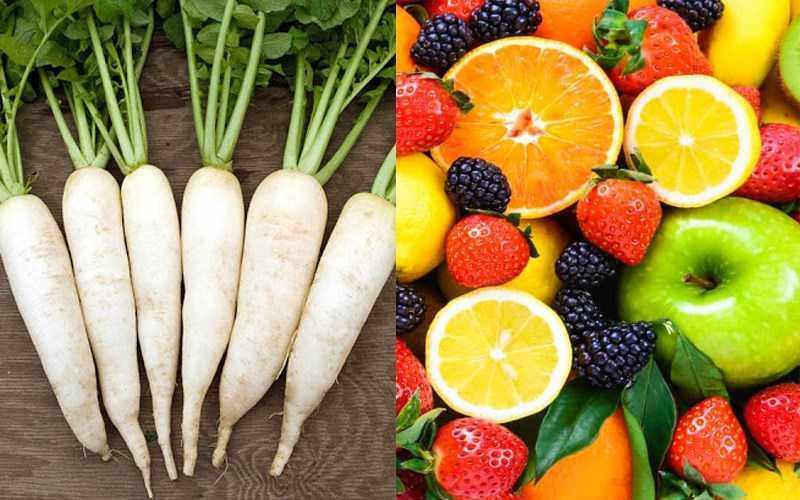 Củ cải trắng và lê, táo, nho