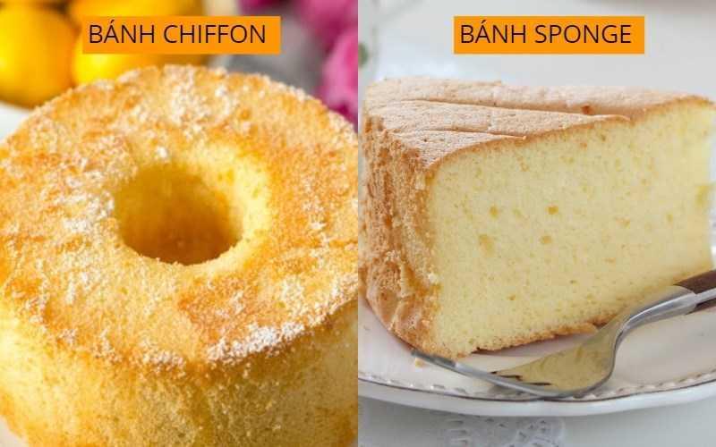 Sự khác biệt giữa bánh bông lan và bánh chiffon