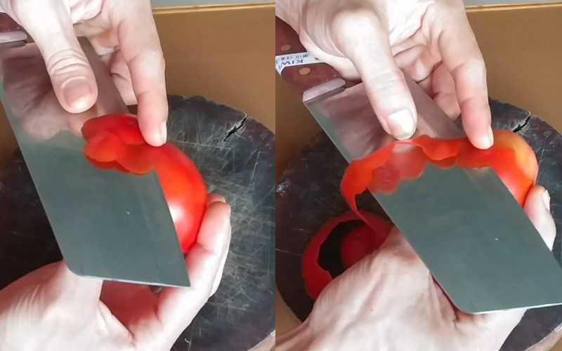 Cắt v� cà chua và tạo một đư�ng lượn sóng